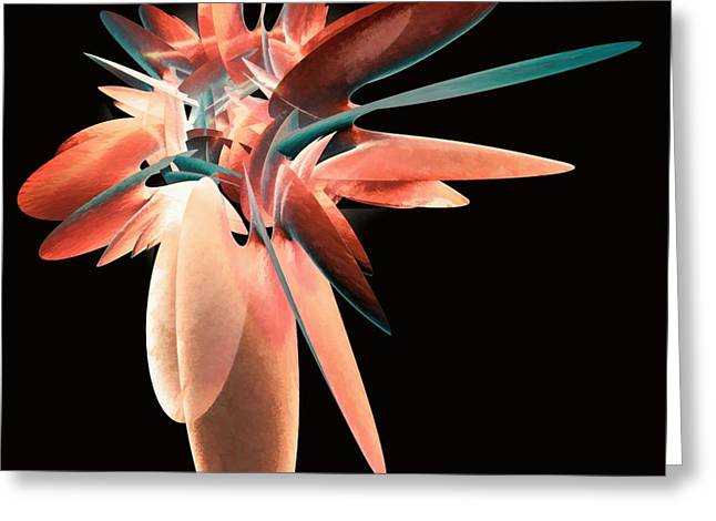 Vase Of Flowers Abstract Greeting Card