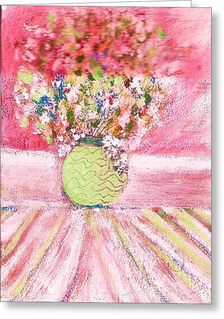 Vase Of Flowers Against The Window Greeting Card