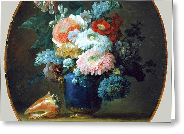 Vase Of Flowers And Conch Shell Greeting Card