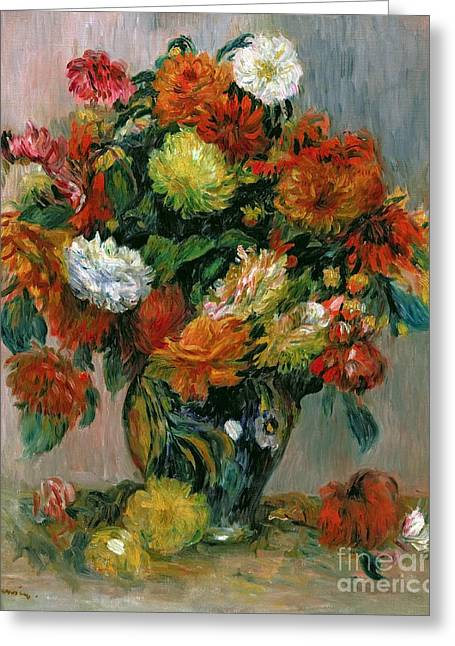 Vase Greeting Cards - Vase of Flowers Greeting Card by Pierre Auguste Renoir