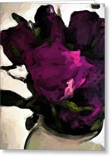 Vase Of Roses With Shadows 1 Greeting Card
