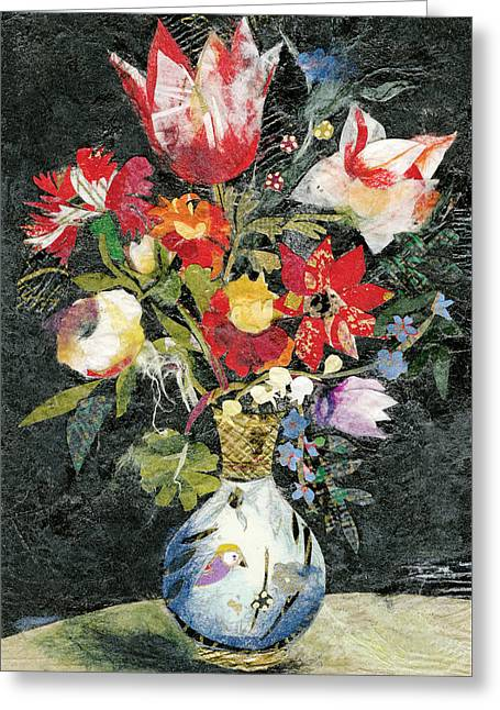 Vase With A Bird Greeting Card by Nira Schwartz