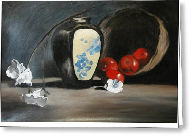 Vase With Apples Greeting Card by Angelo Thomas