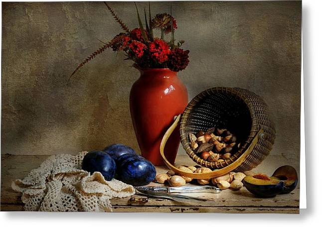 Vase With Basket Of Walnuts Greeting Card