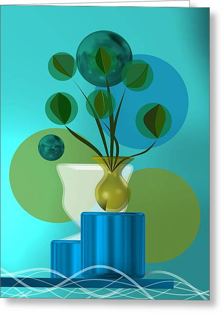Vase With Bouquet Over Blue Greeting Card