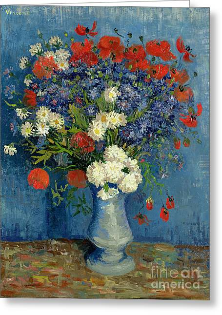 Vincent Paintings Greeting Cards - Vase with Cornflowers and Poppies Greeting Card by Vincent Van Gogh