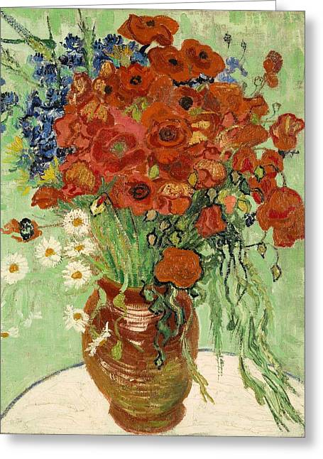 Greeting Card featuring the painting Vase With Daisies And Poppies by Van Gogh