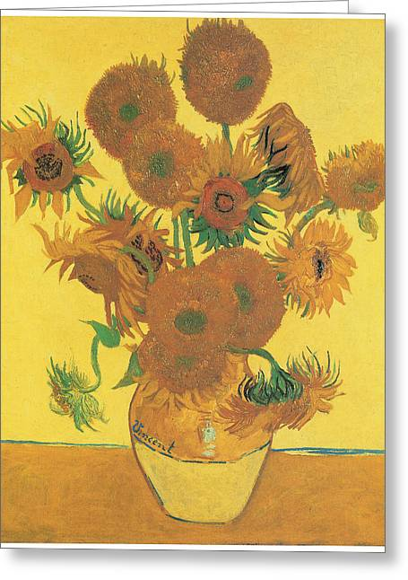 Vase With Fifteen Sunflowers Greeting Card