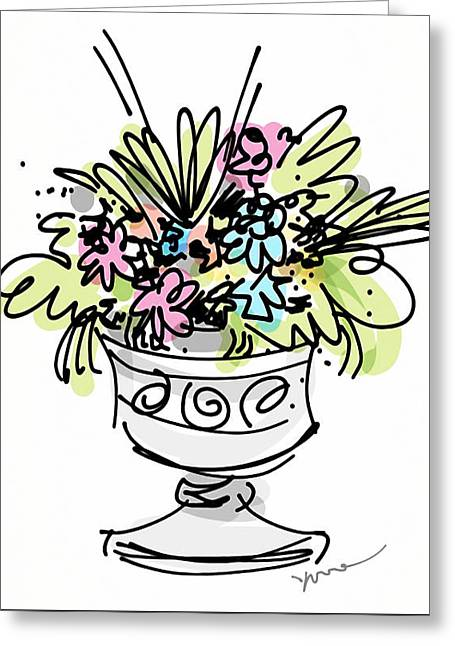 Vase With Flowers Greeting Card by Yvonne Wright