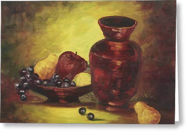 Vase With Fruit Bowl Greeting Card by Cathy Robertson