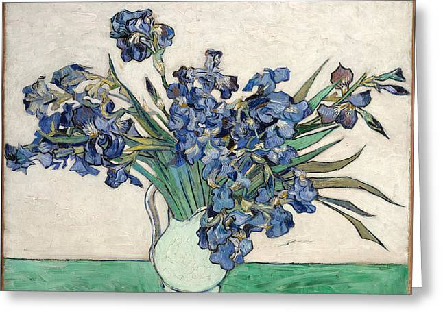 Greeting Card featuring the painting Vase With Irises by Van Gogh