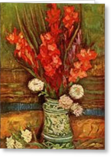 Vase With Red Gladioli Greeting Card by Vincent Van Gogh
