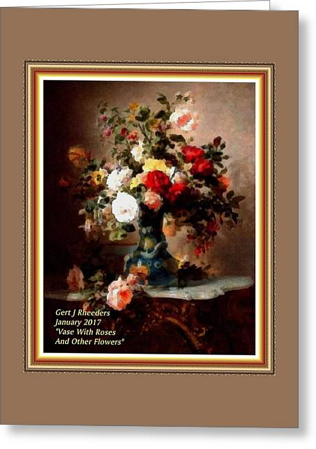 Vase With Roses And Other Flowers L A With Decorative Ornate Printed Frame. Greeting Card
