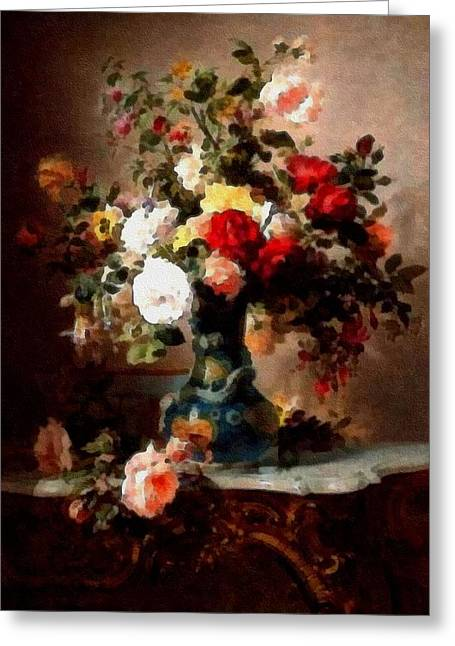 Vase With Roses And Other Flowers L B Greeting Card