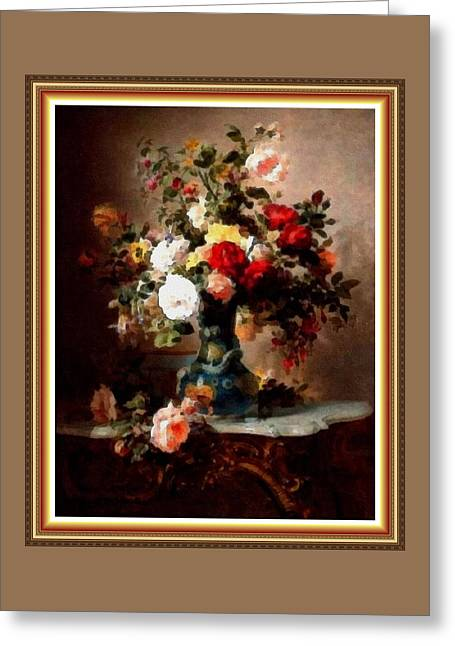 Vase With Roses And Other Flowers L B With Alt. Decorative Ornate Printed Frame. Greeting Card