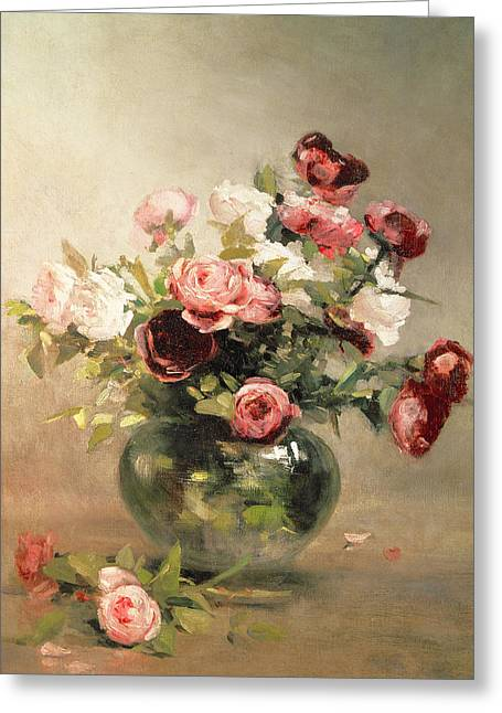 Vase With Roses Greeting Card by Eva Gonzales