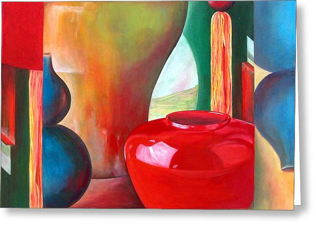 Vases Greeting Card by Muriel Dolemieux