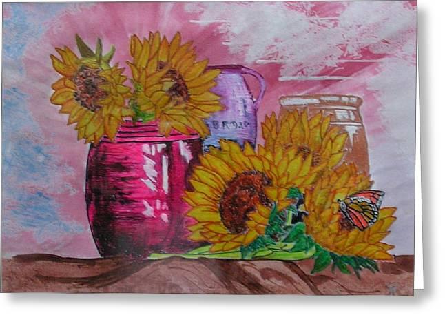 Vases With Flowers Greeting Card by John Vandebrooke