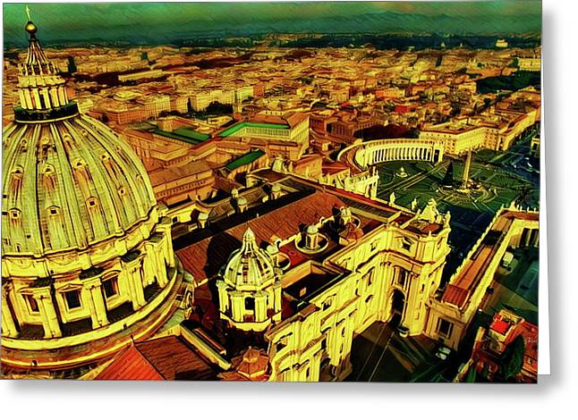 Vatican City Rome Italy Greeting Card by Russ Harris