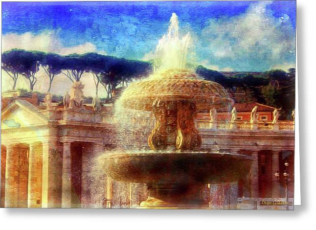 Vatican Fountains Greeting Card by Brian Lukas