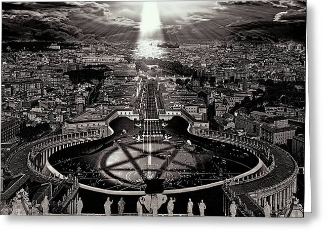Vatican Rocking View Black And White Greeting Card by Marian Voicu