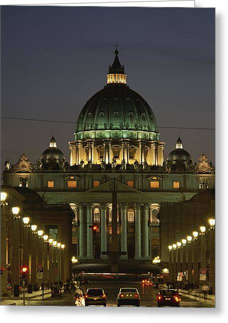 Vatican, Rome, Italy.  Night View Greeting Card by Richard Nowitz