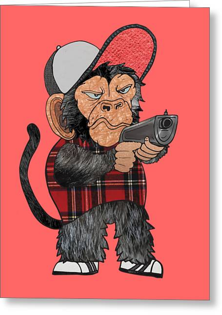 Vato Monkey Greeting Card by Daniel Adams