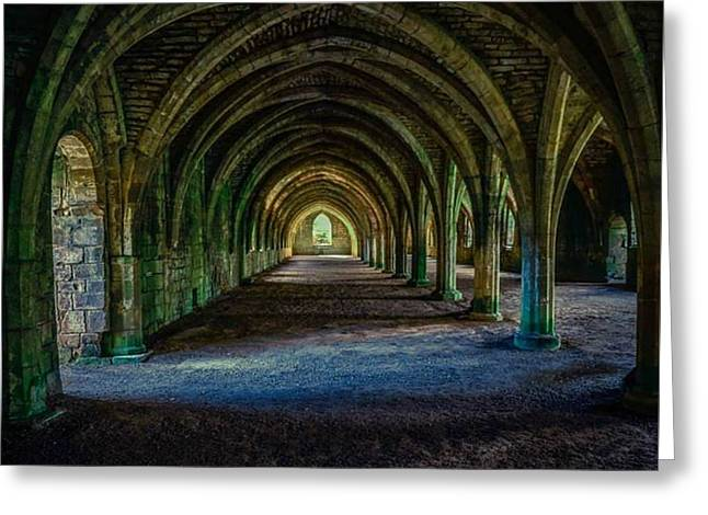 Vaulted, Fountains Abbey, Yorkshire, United Kingdom Greeting Card