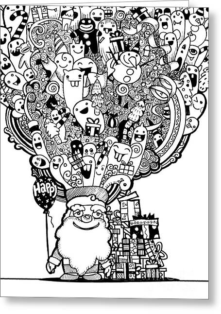 Vector Illustration Of Doodle Christmas Background ,hand Drawing Greeting Card by Pakpong Pongatichat
