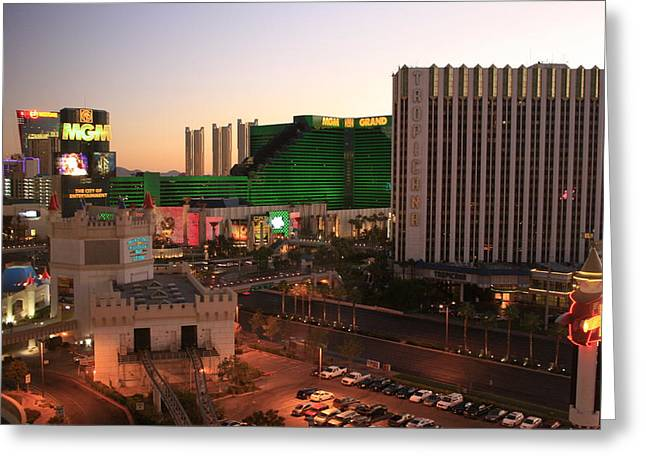 Vegas Dawn Greeting Card by Christopher Kirby