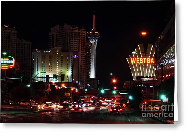 Vegas Paradise Road Greeting Card by Jennifer White