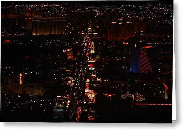 Vegas Strip Greeting Card by D R TeesT