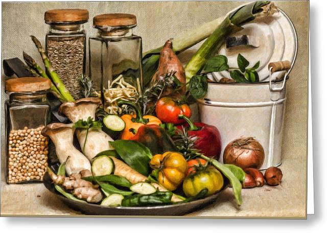 Vegetable And Canisters Still Life Stl697793 Greeting Card by Dean Wittle