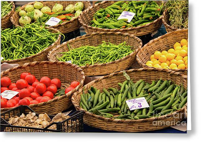 Vegetable Baskets Greeting Card by Bob Phillips