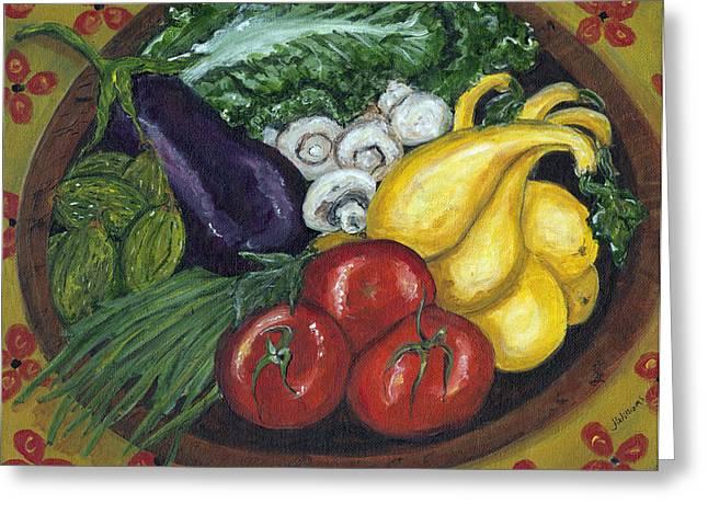 Vegetable Bowl Greeting Card by Jill Hershock