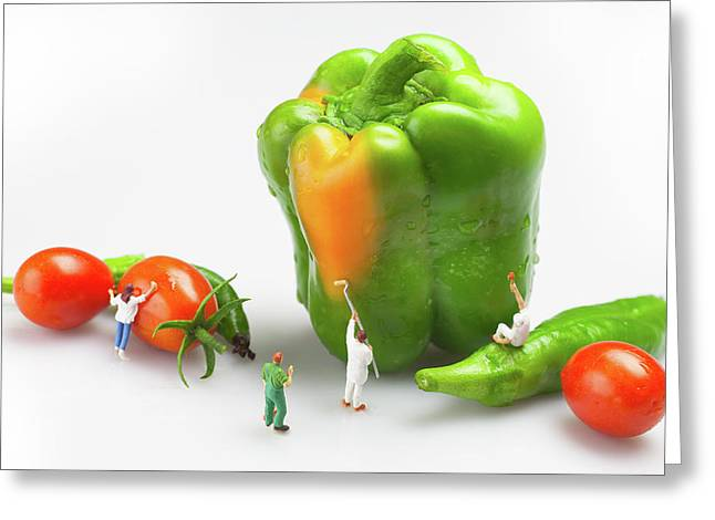 Greeting Card featuring the painting Vegetable Painting Little People On Food by Paul Ge