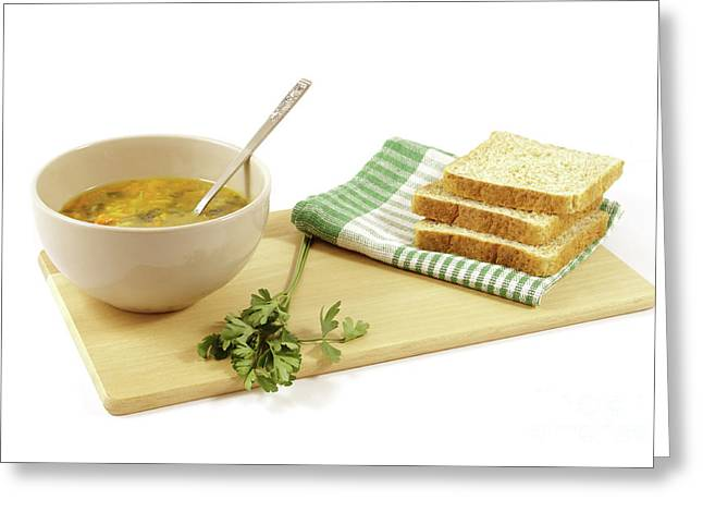 Vegetable Soup With Sliced Bread Greeting Card