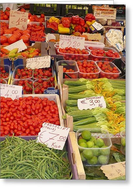 Vegetables At Italian Market Greeting Card by Carol Groenen