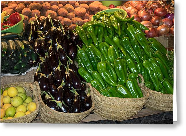 Vegetables For Sale In The Souk, Fes Greeting Card by Panoramic Images