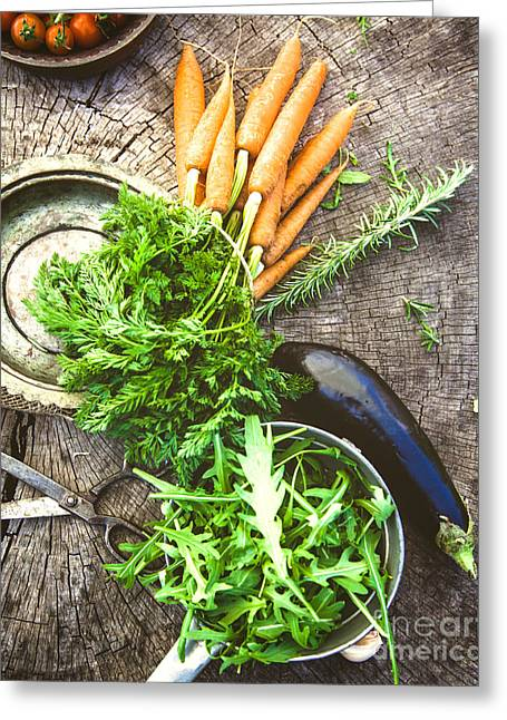 Vegetables On Wood Greeting Card by Mythja Photography