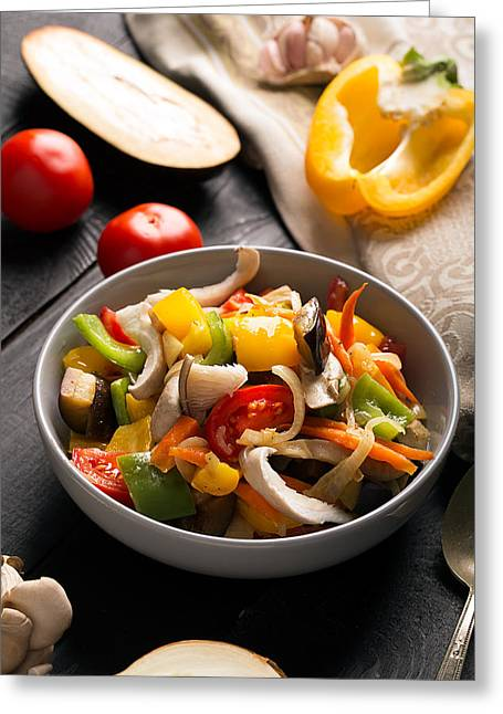 Vegetables Stir Fry Greeting Card by Vadim Goodwill