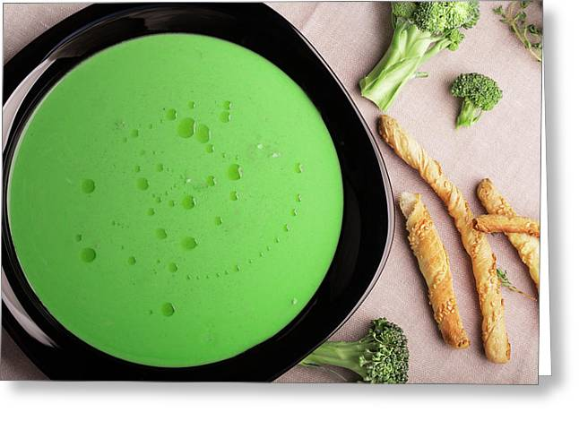 Vegetarian Broccoli Green Soup Greeting Card by Vadim Goodwill