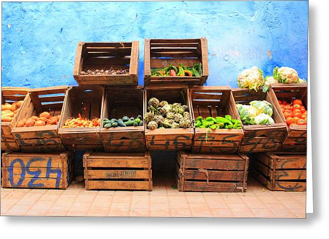 Greeting Card featuring the photograph Veggies And The Blue Wall by Ramona Johnston
