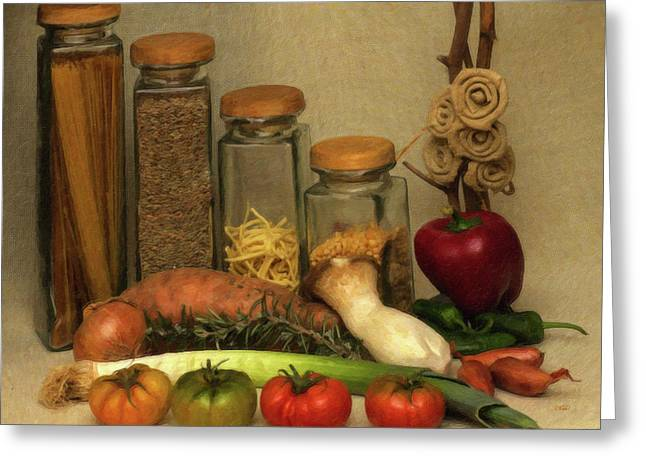 Vegtables Canisters And Herbs Still Life Greeting Card by Dean Wittle