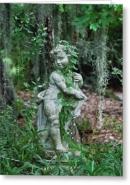 Historic Statue Digital Art Greeting Cards - Veil of Vines Greeting Card by DigiArt Diaries by Vicky B Fuller