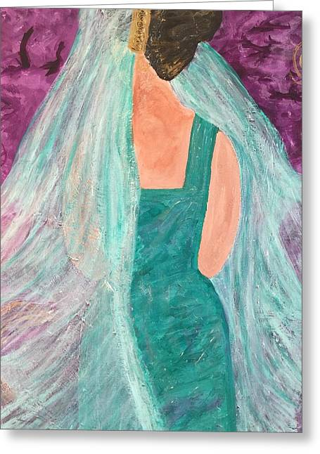Veiled In Teal Greeting Card by Annette McElhiney