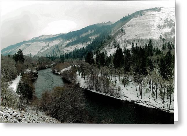 Veiw Of The Klickatat River Greeting Card by Jeff Swan