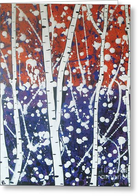 Aspen Trees On The Lake Greeting Card by Vesna Antic