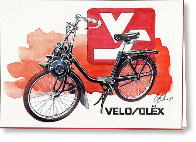 Velo Solex Greeting Card by Yoshiharu Miyakawa