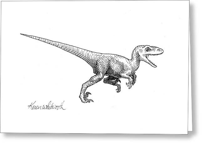 Velociraptor - Dinosaur Black And White Ink Drawing Greeting Card by Karen Whitworth